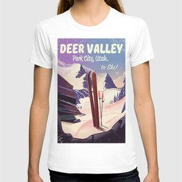 Deer Valley, park city, Utah, ski poster print. T-shirt