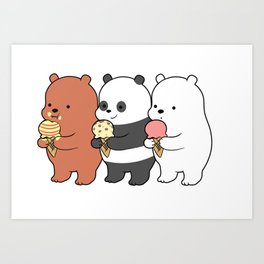 Baby Bears Eating Some Ice Cream Art Print