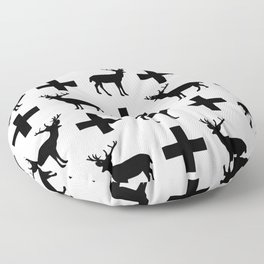 Deer Plus - Black and white deer pattern designs with plus sign perfect cell phone case gift ideas Floor Pillow