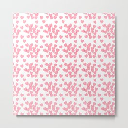 Seamless pink pattern with hearts Metal Print