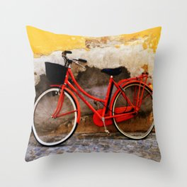 The Red Bicycle Throw Pillow