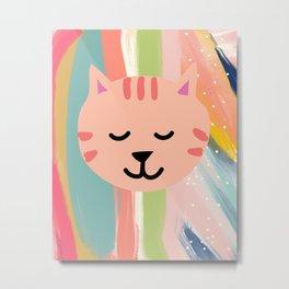 Baby CAT Leopard Print Sunday Rainbow Metal Print