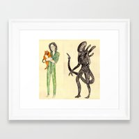 alien Framed Art Prints featuring \ALIEN/ by withapencilinhand
