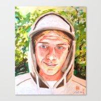 ashton irwin Canvas Prints featuring Ashton by Peter Bridgstock
