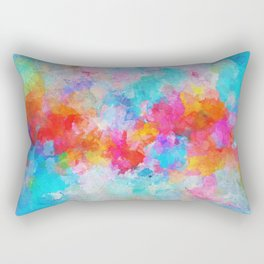 Cloudy Abstract Painting- Colorful Art Rectangular Pillow
