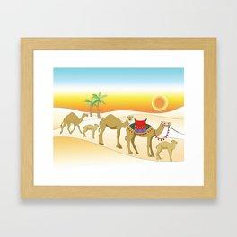 Exodus, Camels in the Desert, Passover Framed Art Print