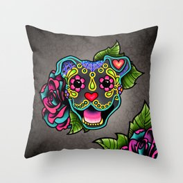 Smiling Pit Bull in Blue - Day of the Dead Pitbull Sugar Skull Throw Pillow