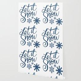 Let It Snow Blue Glitter (Color) Wallpaper