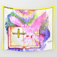 bible verse Wall Tapestries featuring THE HOLY BIBLE by KEVIN CURTIS BARR'S ART OF FAMOUS FACES