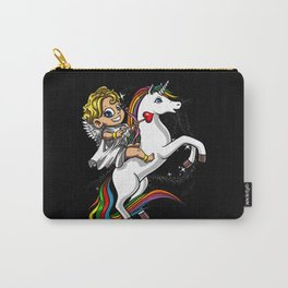 Cupid Riding Magical Unicorn Valentines Carry-All Pouch