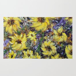 Misty Autumn Sunflowers Rug