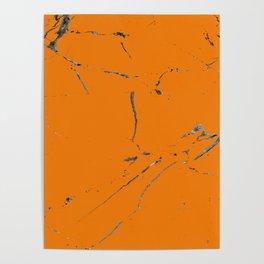 bold orange marble texture Poster