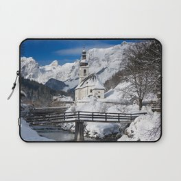 Church with Alps mountains in the snow with a stream in Germany Laptop Sleeve