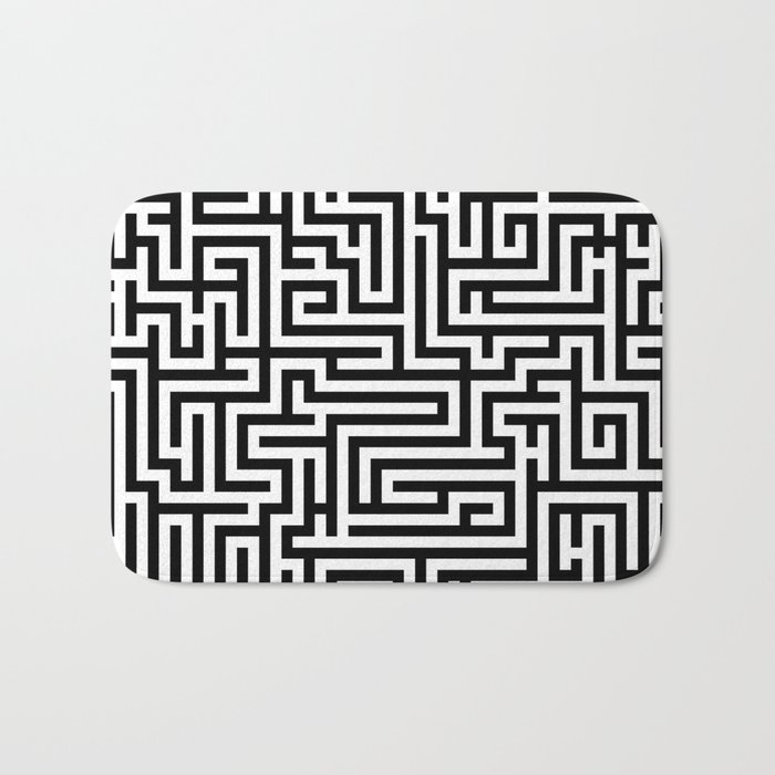 Black and white Labyrinth Bath Mat