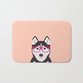 Kamri - Siberian Husky with Pink Hipster Glasses, Cute Retro Dog, Dog, Husky with Glasses, Funny Dog Bath Mat