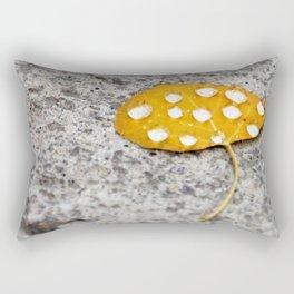 Snowflakes Melt on Golden Aspen Leaf Rectangular Pillow