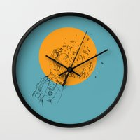 third eye Wall Clocks featuring Third Eye by Matt Smith