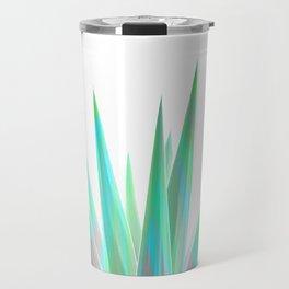 Tropical Allure - Green & Grey on White Travel Mug