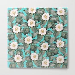 White Camellia Floral On Teal Pattern Metal Print