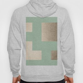 Simply Geometric White Gold Sands on Pastel Cactus Green Hoody