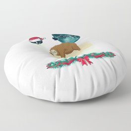 Llama Sloth Christmas Santa's Sleigh Silhouette In Front Of The Moon Floor Pillow