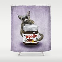 nutella Shower Curtains featuring Sweet aim // galago and nutella by Anna Shell