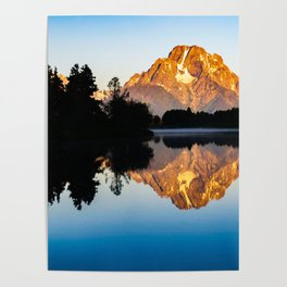 Mountain Sunrise Forest Silhouette Print Poster