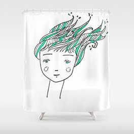 Wet Hair Shower Curtain
