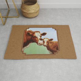 Guernsey Cow and Cute Calf Rug