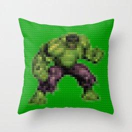 Green monster - Toy Building Bricks Throw Pillow
