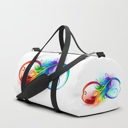 Infinity Symbol with Rainbow Feather Duffle Bag