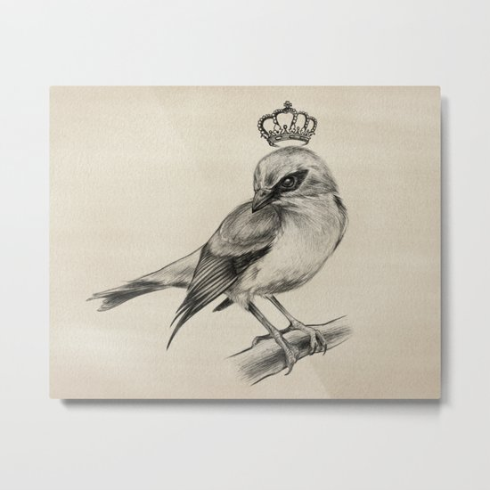 Bird Drawing | Nursery | Baby Room | Nature Art Metal Print