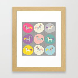 Cute Unicorn polka dots grey pastel colors and linen texture #homedecor #apparel #stationary #kids Framed Art Print