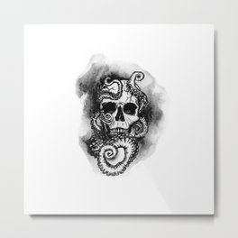 Skull and Octopus Together Forever by annmariescreations Metal Print