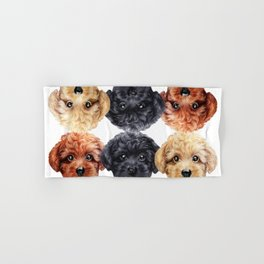 Toy poodle friends mix, Dog illustration original painting print Hand & Bath Towel