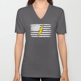 American Electrician USA Flag 4th Of July Gift Unisex V-Neck