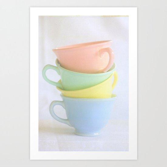 Pastel Tea Cup Stack Art Print