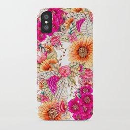 Pink orange spring vintage floral watercolor illustration pattern iPhone Case