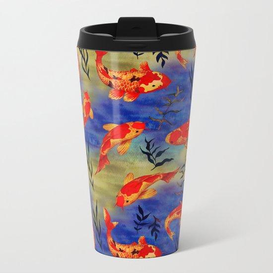 The deep water- koi fishes - watercolor Metal Travel Mug