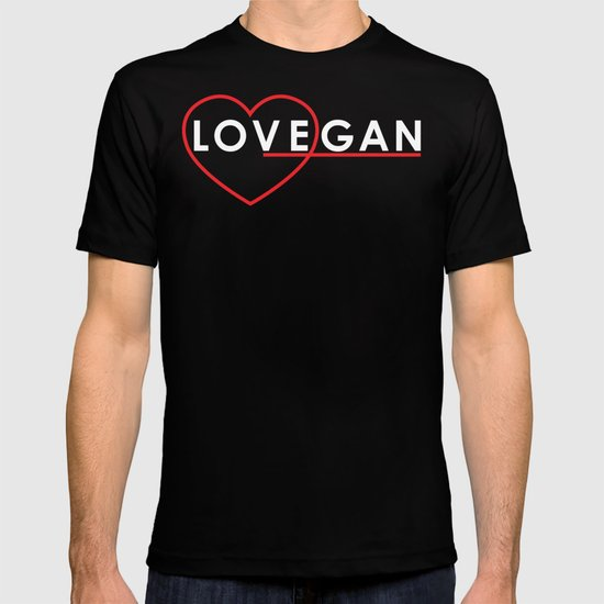 Lovegan (Love Vegan), on black T-shirt