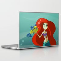 little mermaid Laptop & iPad Skins featuring Little Mermaid by Kaori