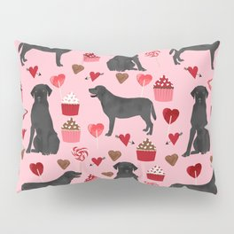 Black Lab valentines day pattern gifts dog pattern with hearts and cupcakes perfect for valentine Pillow Sham