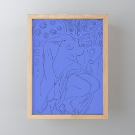 Matisse Line Art #4 - Blue Background Framed Mini Art Print