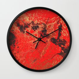 Red Fluid Abstract Painting Fallen Embers Wall Clock