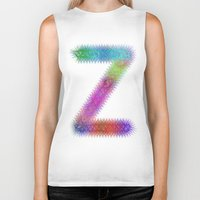 letter Biker Tanks featuring Letter Z by David Zydd