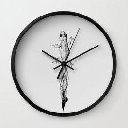Gecko Black Ink Drawing Wall Clock