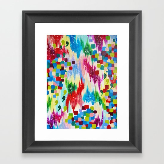 'TIS THE SEASON - Cheerful Christmas Seasonal Holidays Abstract Acrylic Painting Chevron Snow  Framed Art Print