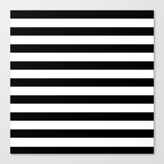 Midnight Black and White Stripes Canvas Print
