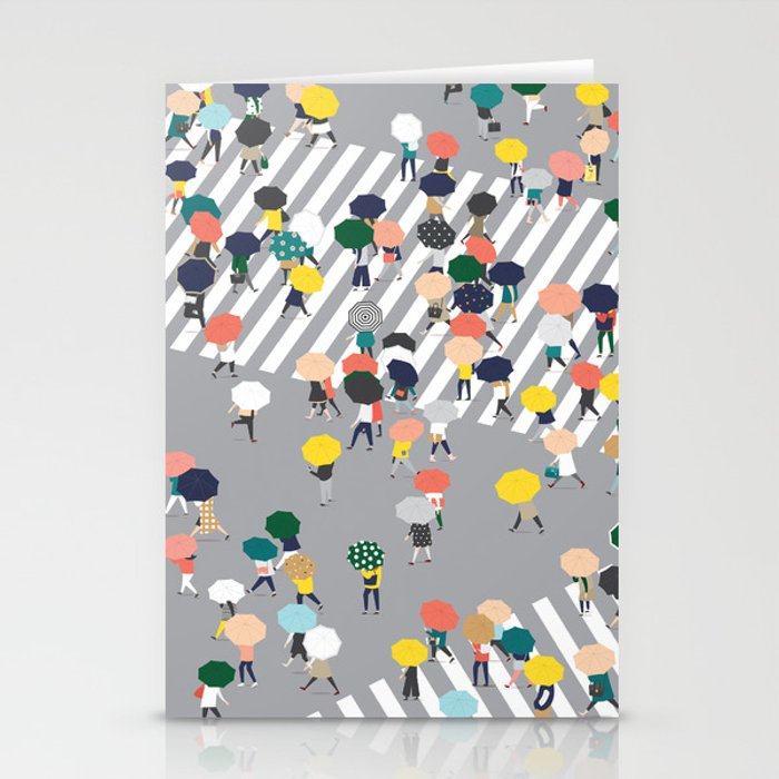 Crossing The Street on a Rainy Day - Grey Stationery Cards