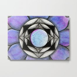 Doodled Gem Bloom Metal Print
